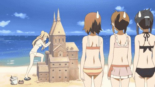 Mio Akiyama, Yui Hirasawa, Ritsu Tainaka, and Tsumugi Kotobuki at the beach making a sandcastle