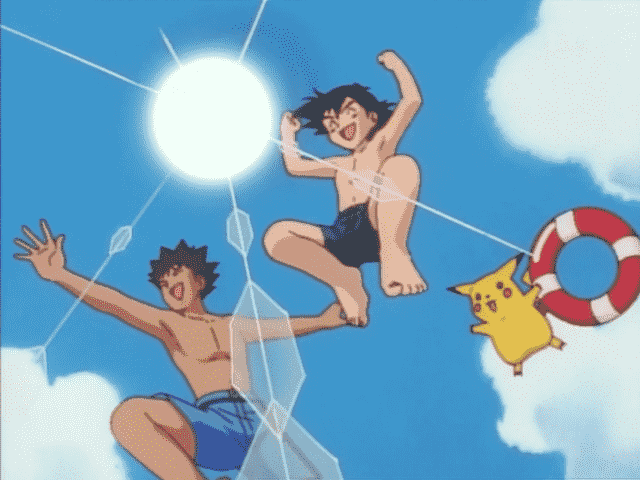 Brock, Ash, and Pikachu diving at the beach
