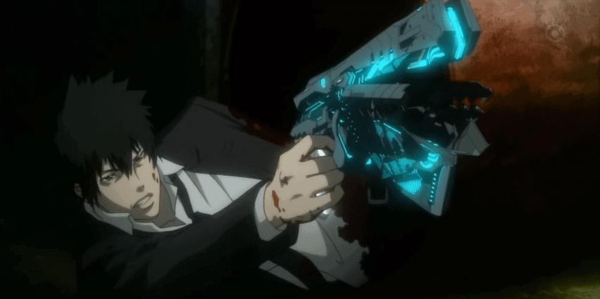 Shinya Kogami shooting a Dominator