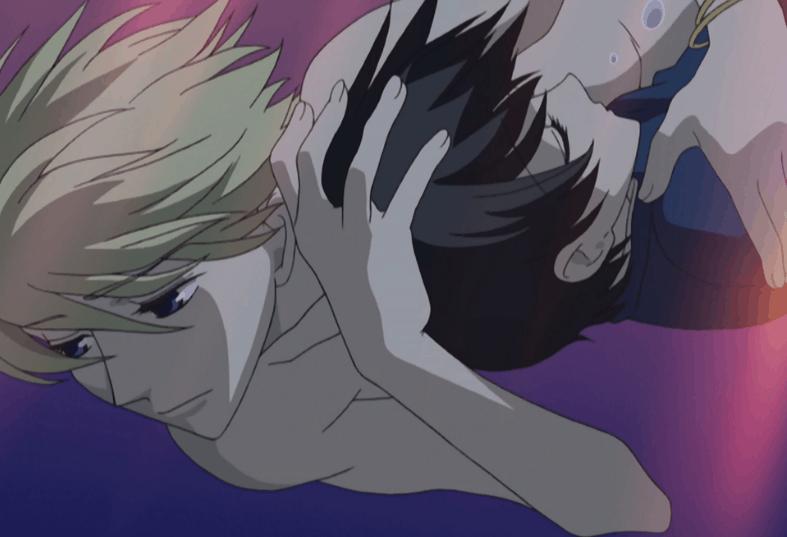 Takumi saving Haruhi in the ocean