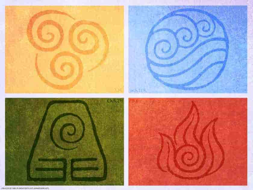 Avatar the last airbender elements wind water earth fire