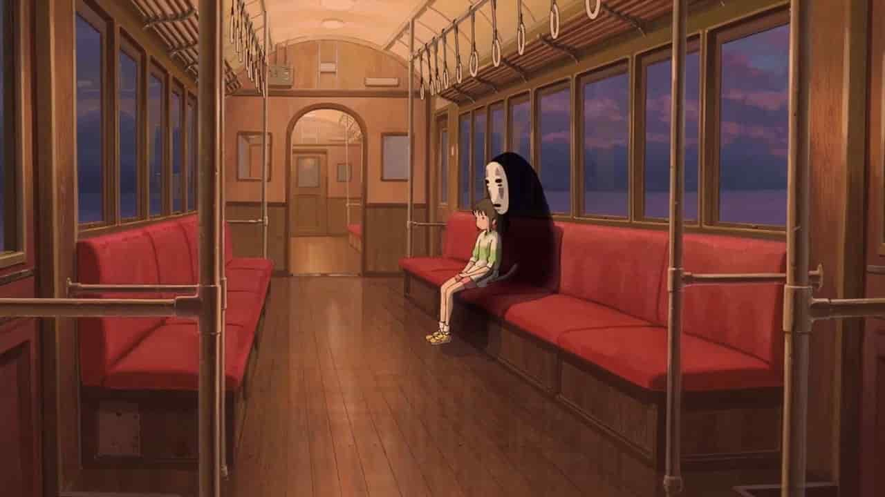 Chihiro and No face on a train Spirited Away